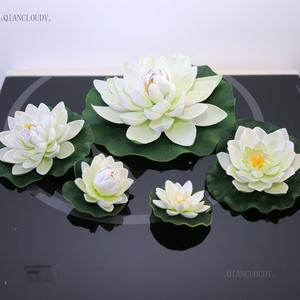 Artificial WHITE Lotus Leaves flowers Water ponds lotus leaf fake Lily Floating Pool home garden Plants Wedding D24(China)