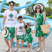 Beach Family Set Shoulder-Out Mother Daughter Dresses Father Son girl Matching Clothes Clothing Sets Parent-Child