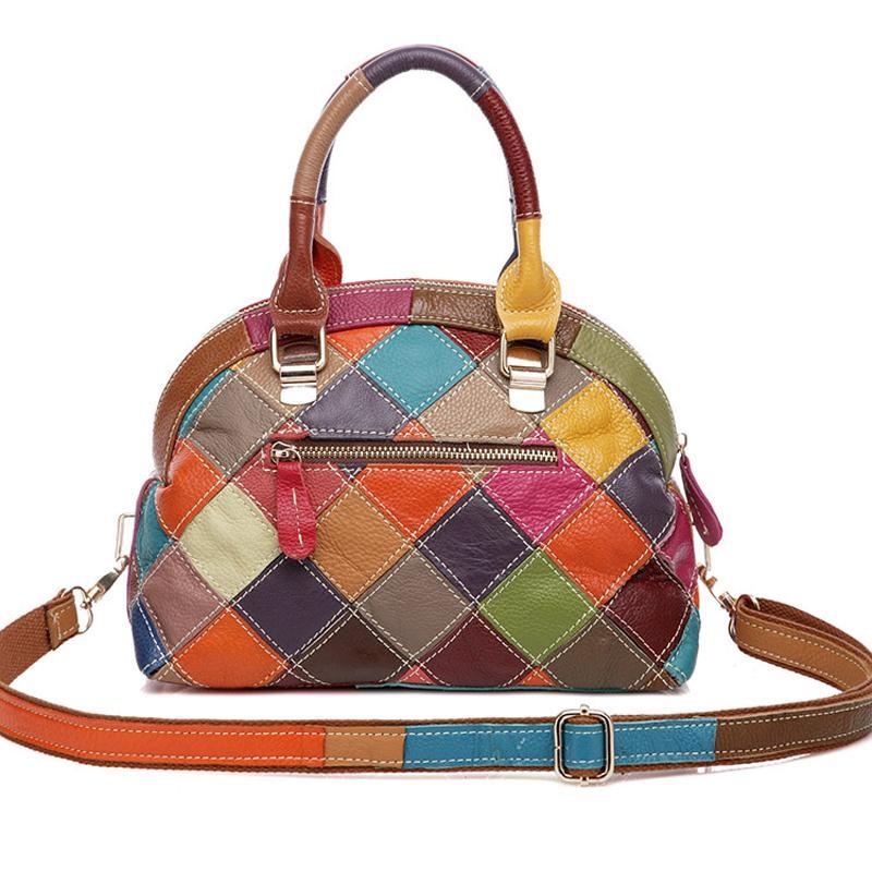 女性のバッグ有名なブランドデザイナー本物の牛革ハンドバッグ 2017 ファッションの高級高品質シェルクロスボディバッグショルダーバッグの上  グループ上の スーツケース & バッグ からの トップハンドルバッグ の中 3