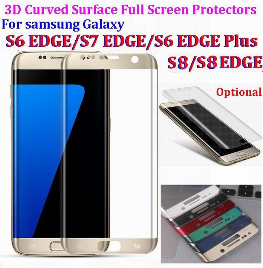 bilder für 9 H Härte 3D Gekrümmten Oberfläche Voller Display-schutzfolien explosionsgeschützte Gehärtetem Glas Film für Samsung Galaxy S8 S7 S6 rand plus
