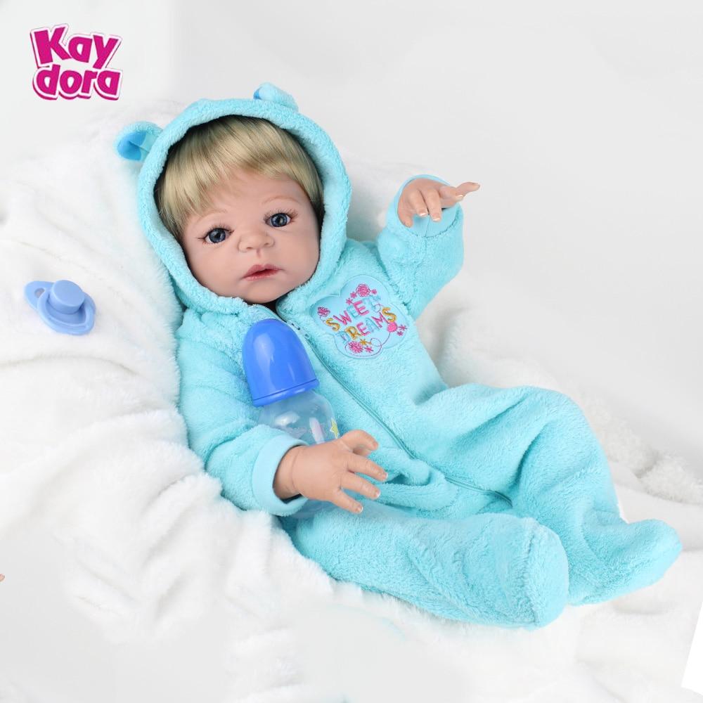 22 inch 55cm Full Silicone Reborn Baby Dolls Alive Lifelike Real Dolls Hair Wig Realistic Reborn Babies Boys Toys Birthday Gift