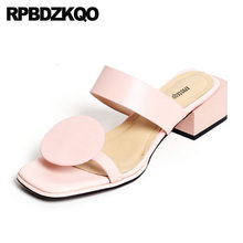 9e956e0b765 Block Sandals Square Genuine Leather Designer Shoes Women Luxury 2017 Blue  Cute Pink Thick Slippers Kawaii Low Heel Pumps Slides