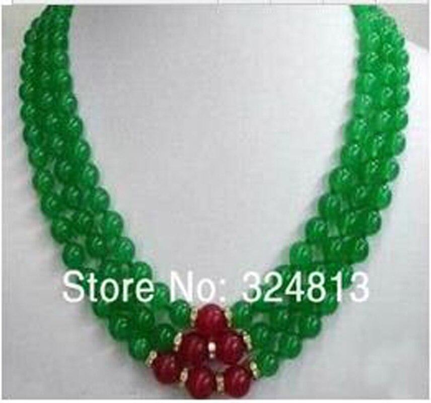 Nouveau collier femmes 3 rangées naturel 8mm vert & onyx 10mm strass 5D6S85