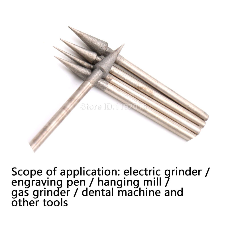 ZtDpLsd 1Pcs 1200Grit 2.35mm Shank D Needle Grinding Cutting Head Drill Bits Shank Diamond Rotary Carving Polishing Burrs