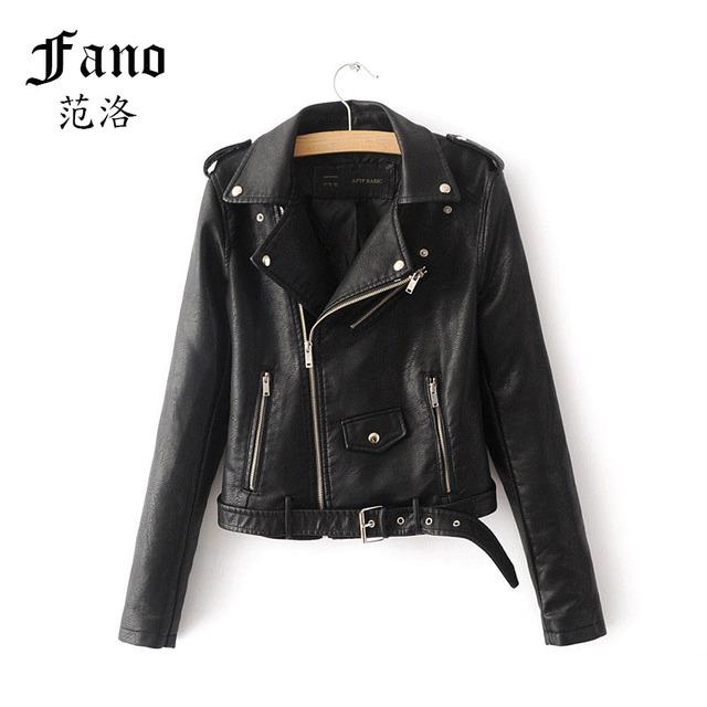 Otoño outerwears señora de las mujeres de piel sintética con cinturón con cremallera solapa de manga larga bolsillos chaqueta de moto