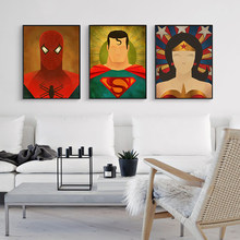Abstrait superman imprimé Portrait Pop Art peinture affiche Cuadros Decoracion toile superman Batman mur photo pour vivre Roo(China)