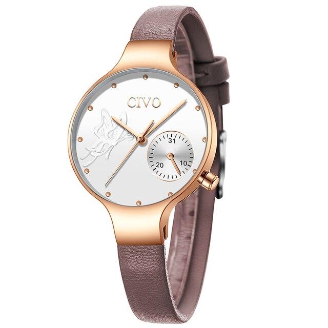 CIVO 2019 New Fashion Ladies Watch Quartz Genuine Leather Watches Butterfly Lady Bracelet Dress Watch Women Wristwatch Clock 1
