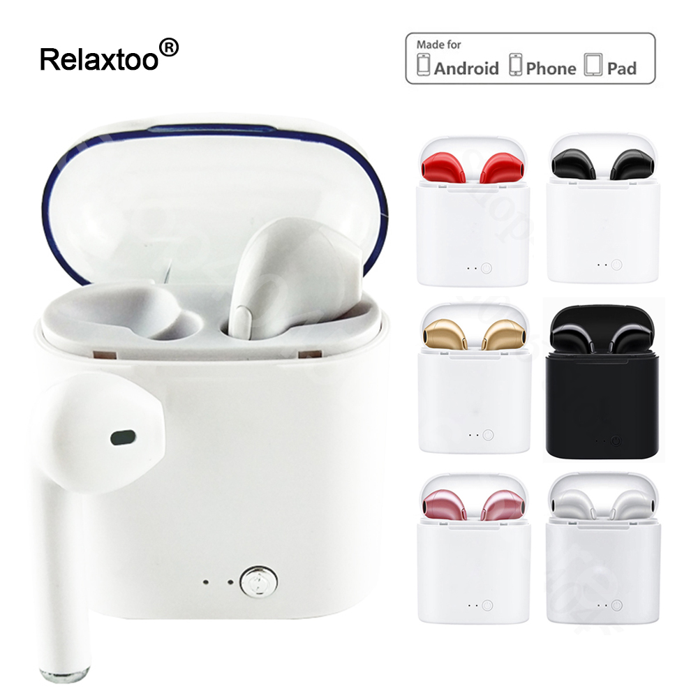 I7 Twins TWS Bluetooth Stereo Earphone Phone Headphone Wireless Earbuds For IPhone X Ix 6 7 8plus 7plus Galaxy S8 Plus Android