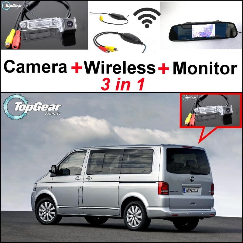 3 in1 Special Camera + Wireless Receiver + Mirror Monitor DIY Parking System For Volkswagen VW T5 Transporter Caravelle Multivan wireless pager system 433 92mhz wireless restaurant table buzzer with monitor and watch receiver 3 display 42 call button