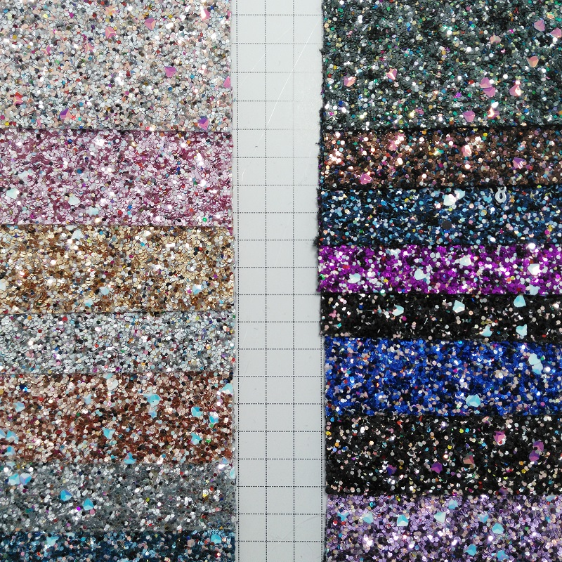91x134cm Synthetic Leather Chunky Glitter Leather For DIY accessories P2039