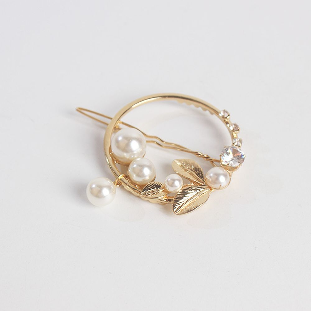 2019-New-Fashion-Women-Girls-Gold-Green-Leaf-Metal-Circle-Moon-Hair-Clips-Alloy-Round-Pearl (4)