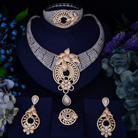 GODKI New Arrival Gold Silver Interval Fashion Women Luxury Bridal Cubic Zirconia Necklace Ring Bangle Earring