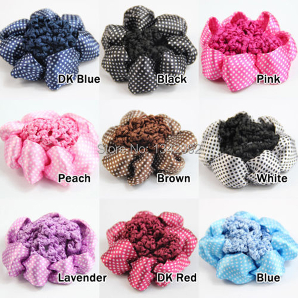 10pcslot New Dot Design Ribbon Circle Horse Bun Cover Hair Bow