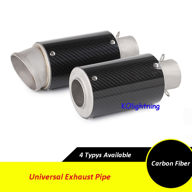 Universal 51mm Motorcycle Exhaust Carbon Fiber Exhaust Short Pipe Scooter For HONDA R1 R3 R6 FZ6 ATV Dirt Bike Exhaust