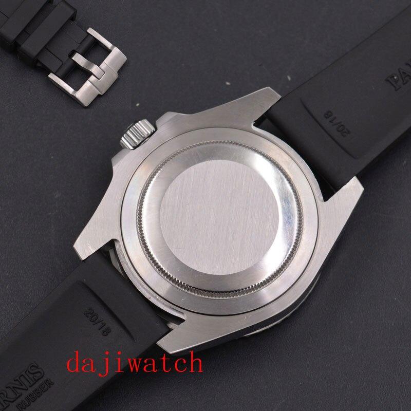 Verre saphir lumineux à cadran noir non marqué de 40mm; montre pour hommes à mouvement automatique avec lunette en céramique bleue noire - 5