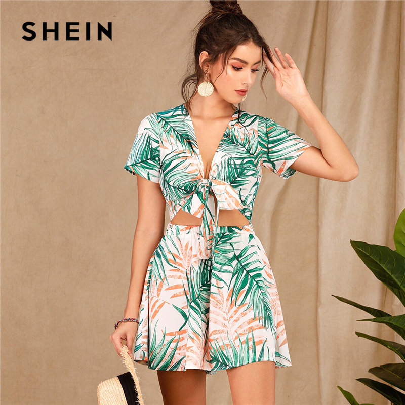 SHEIN Boho Tropical Print Tie Front Peekaboo Romper Women Deep V Neck Summer Sexy Rompers Womens   Jumpsuit   High Waist Playsuit