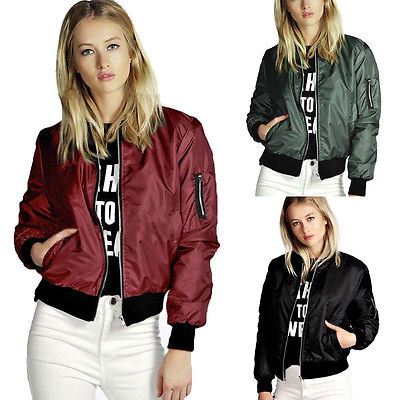 Spring Apparel Cool Basic Bomber Jacket Women Army Green Jacket Coat Zipper Biker Outwear Jackets