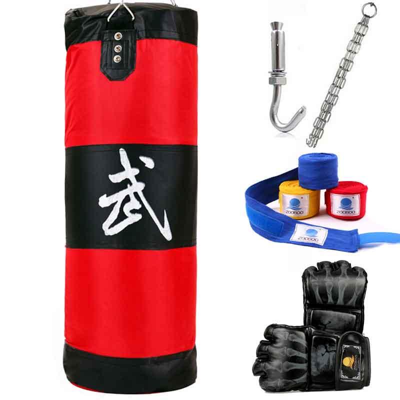ZOOBOO 100cm Training Fitness MMA Fighter Boxing Bag Hook Hanging Bag Sport Sand Punching Bag Sandbag Saco 100cm training mma boxing bag hook hanging kick muay thai sanda punching bag sandbag empty with boxing gloves hand bandage