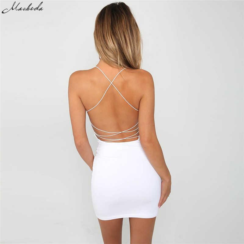 Новое летнее женское сексуальное обтягивающее платье на тонких бретелях без рукавов с открытой спиной однотонного чёрного и белого цвета пляжный наряд