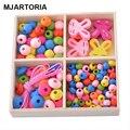 1 Caixa Criativo Multicolor Padrões Mistos Contas De Madeira Jóias DIY Para Crianças Colares Pulseiras Fazer Puzzle Artesanato 9x9 cm