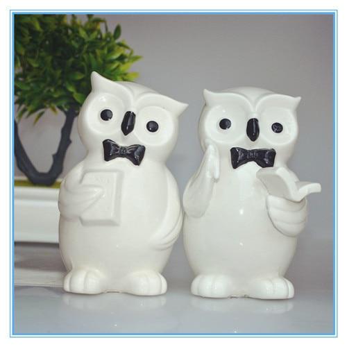 Handmade White Ceramic Owl Decor Porcelain Figurine With Book In Hand Handsome Statue Home