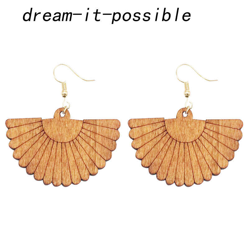 Dream-it-possible 2019 african Ethnic fan new Elegant charm personality large unique Wooden Statement Earrings jewelry Women
