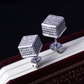 2017 New Designer Women Button Square Cube Fashion Geometric Top Quality AAA Cubic Zirconia Pave setting stones Studs Earrings