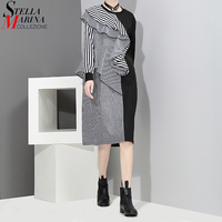 New 2017 Korean Style Summer Autumn Women Striped Black Blue Dress Full Sleeves O Neck Ruffles