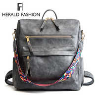 Herald Fashion Bohemia Style Shoulder Bag PU Leather Travel Backpack High Quality School Bag for Girls Sac a Dos Feminina