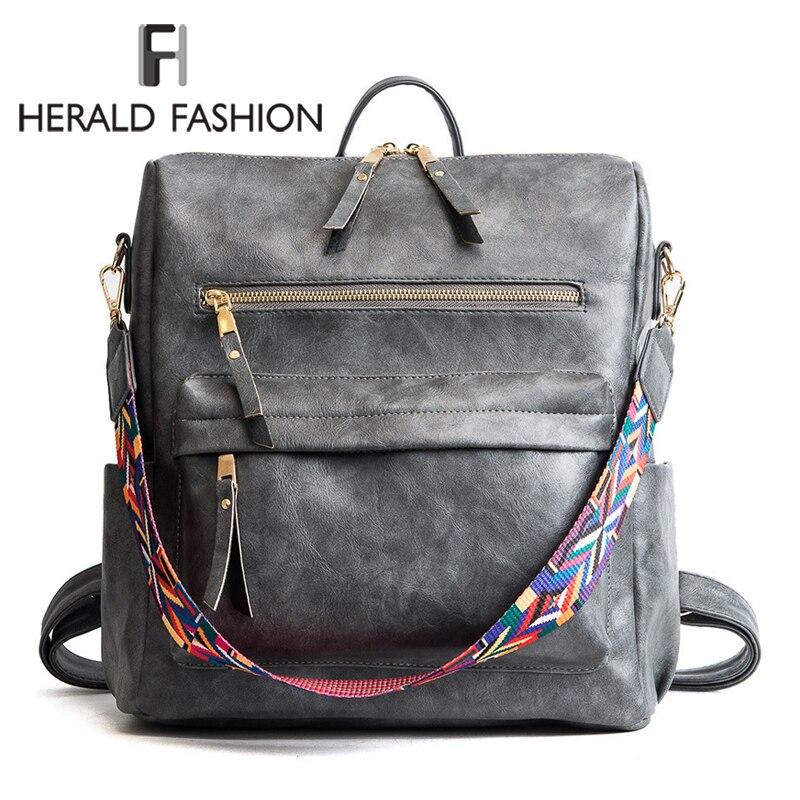 Herald Moda Bohemia Estilo Shoulder Bag Couro PU Mochila de Viagem de Alta Qualidade Saco de Escola para Meninas Sac a Dos Feminina
