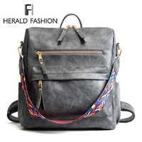 Herald moda bohemia estilo bolsa de ombro couro do plutônio mochila viagem alta qualidade saco escolar para meninas sac a dos feminino