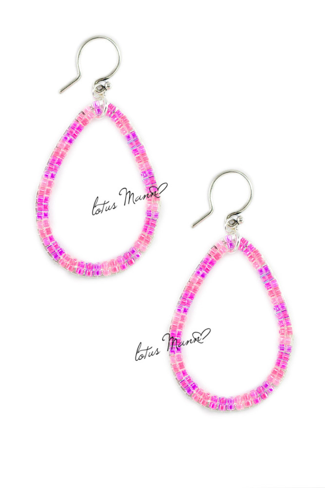 Lotus Mann Fluorescent pink m beads weaving sterling silver earrings seed beads