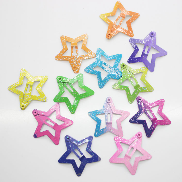 12 Pcs/set Star Shape Hair Snap Clips 3 Cm Glitter Pentagram Metal Hair Clips Cute Bling Bling Hairpins