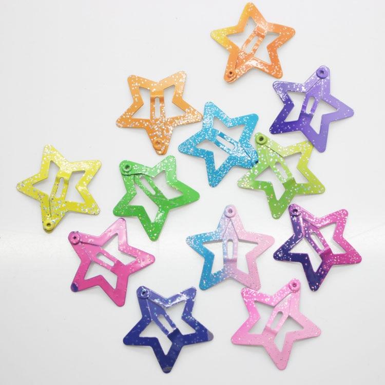 12 Pcs Set Star Shape Hair Snap Clips 3 Cm Glitter