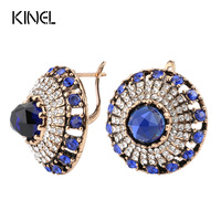 Hot 2017 Luxury Natural Stone Earring Vintage Crystal Antique Earrings For Women Gold Color Party Christmas