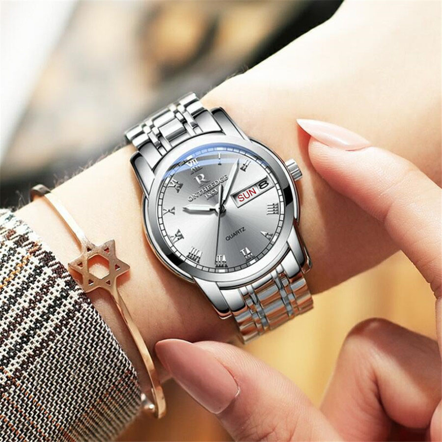 Watch Men Women Business Waterproof Clock Auto Date Silver Steel Mens Watches Fashion Casual Ladies Quartz Wristwatch NEW 2