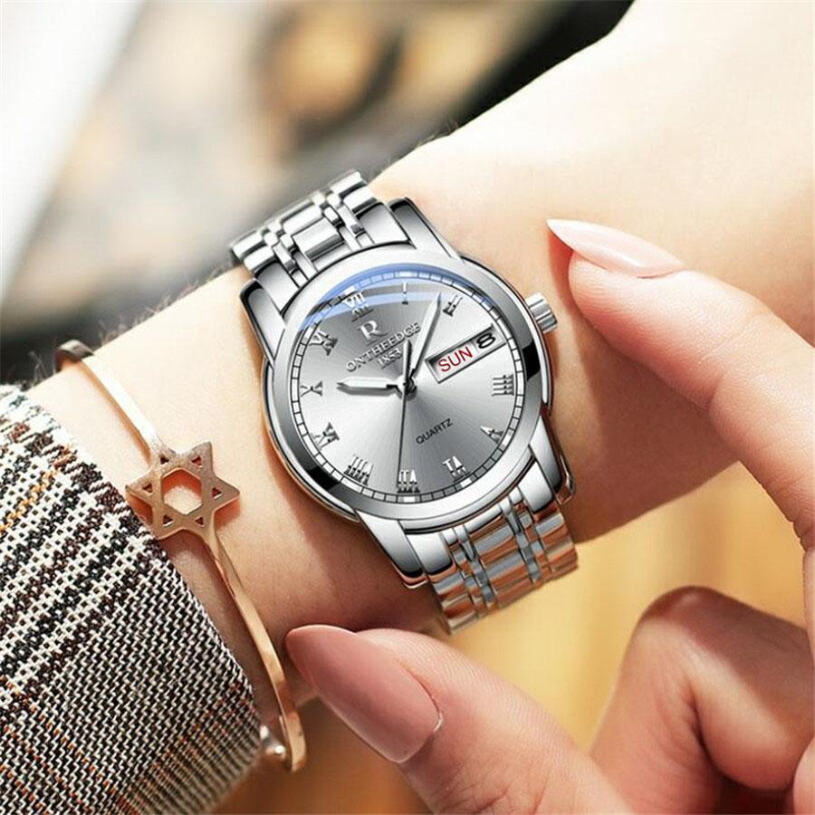Watch Men Women Business Waterproof Clock Auto Date Silver Steel Mens Watches Fashion Casual Ladies Quartz