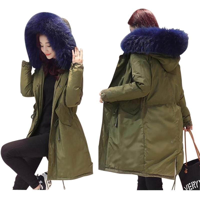Detail Feedback Questions about Large Real Fox Fur Winter Jackets Women  Long Parkas 2017 Women Coat Army green Winter Coat Womens Down Jacket  Female ... 9a4e972c0d
