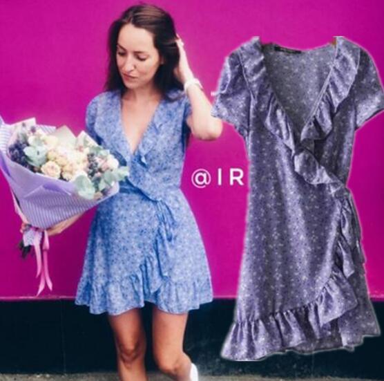 Toppies Women 2018 Women Lavender Floral Wrap Dress French Style Purple Ruffles Mini Dress