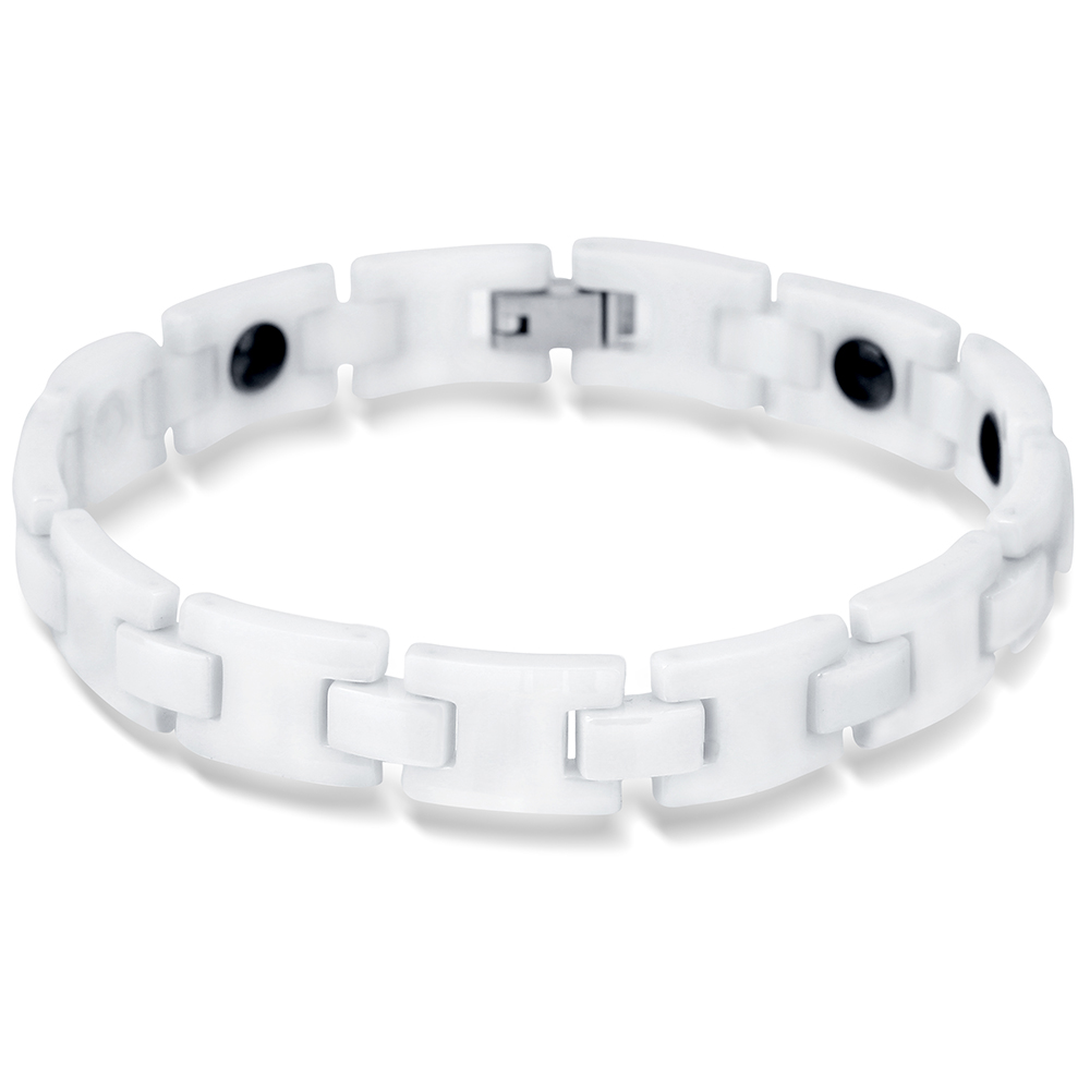 NIBA Black White Bio Elements Energy Ceramic Bracelet Bangles