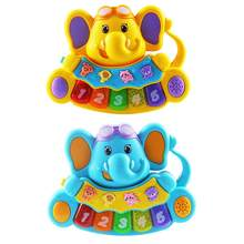 Cartoon Elephant Bear Keyboard 0-3 Years Old Music Animal Beating Sound Learning Machine Children Early Educational Puzzle Toys(China)