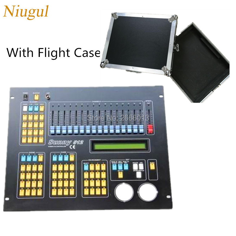 Niugul With Flight case DMX console sunny 512 dmx lighting control console for LED stage effect light DMX controller tiptop sunny 512 dmx stage light controller black color dmx in out equipped led lamp optical isolated independent drive