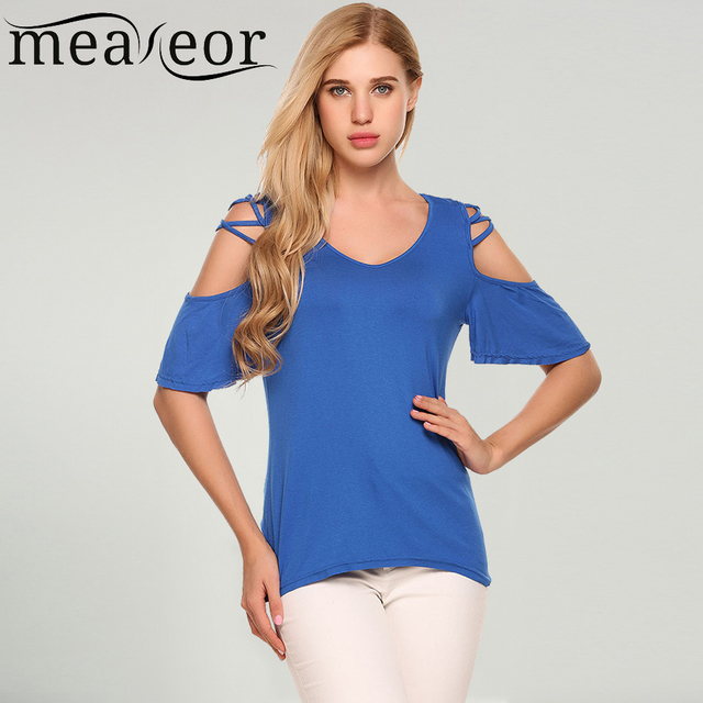 b0bec8d8093 Meaneor Women Short Sleeve Cold Shoulder T-Shirts Summer Loose Solid Casual  Cross Cut-