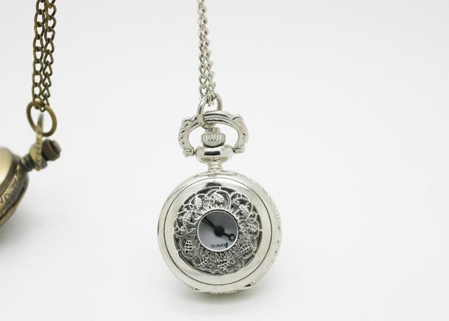 (3011)  12pcs/lot Vintage palace style Filigree Vine Leaf Pocket Watch Necklace Chain Pendant Dia 2.7cm mens quartz watch
