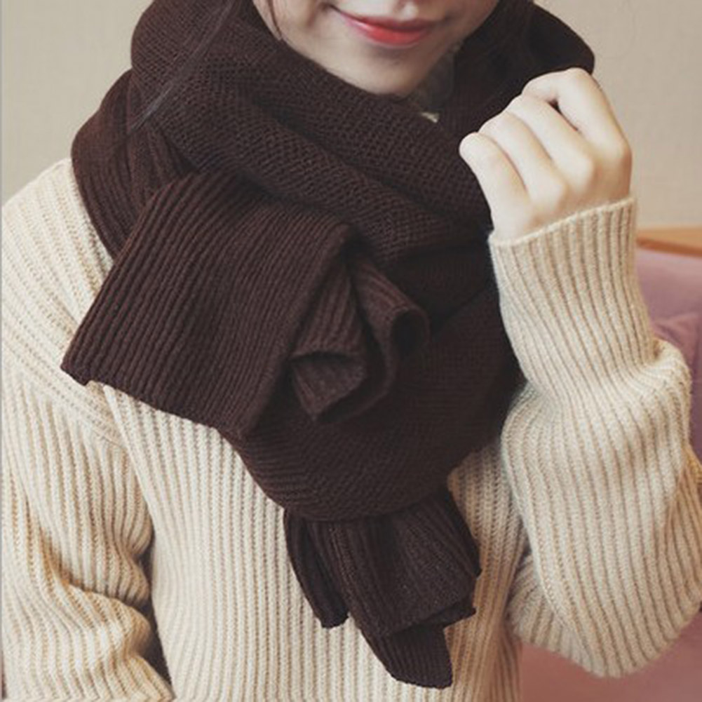 Fashion New Women Men Scarves Solid Long Soft Wrap Scarf Winter Warm Wool Cashmere Shawl Knitted Snow White Brawn Scarves Black