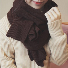 Fashion New Women Men Scarves Solid Long Soft Wrap Scarf Winter Warm Wool Cashmere Shawl Knitted Snow White Brawn Scarves Black top sell women s scarf winter wool knitted candy colors scarves soft comfortable thick warm handmade scarves