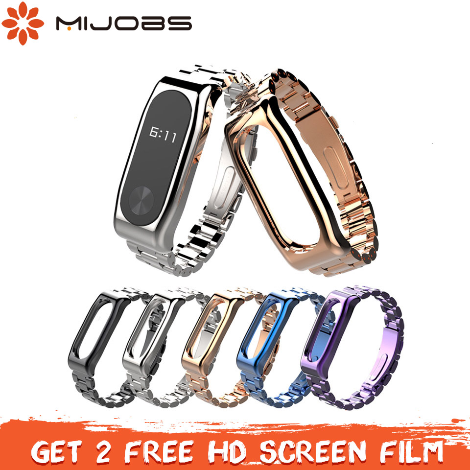 Mijobs Mi Band 2 Strap Metal Wrist Screwless Stainless Steel Bracelet Miband 2 Strap Wristbands For Xiaomi Mi Band 2 Bracelet
