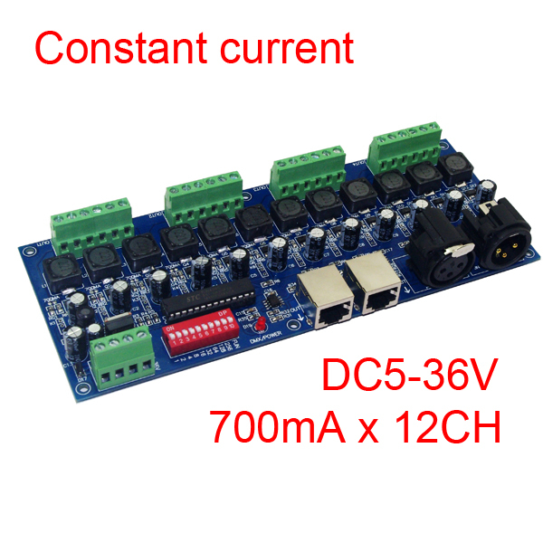 ФОТО 700ma constant current 12CH 12 channel dmx 512 dimmer,drive ,LED DMX512 decoder, RJ45 XRL 3P