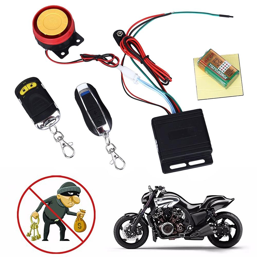 Remote Key Motorcycle Bike Alarm System Anti-theft Security Alarm System Remote Start Flameout Type System + 125dB Alarm Speaker