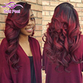 Ombre Brazilian Virgin Hair Body Wave 3/4 Bundles With Closure Ombre 1B Burgundy Cheap Brazilian Hair Weave Bundles With Closure